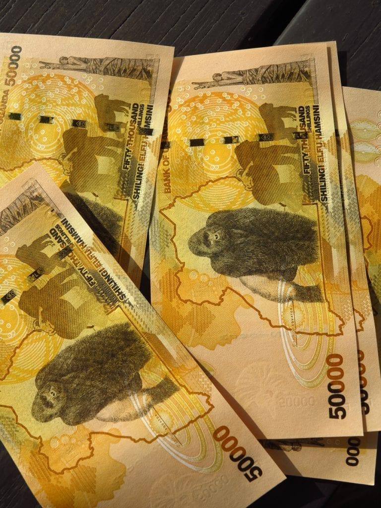 Ugandische Geldscheine mit Gorillas