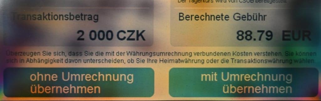 Deldautomat Display Tschechien