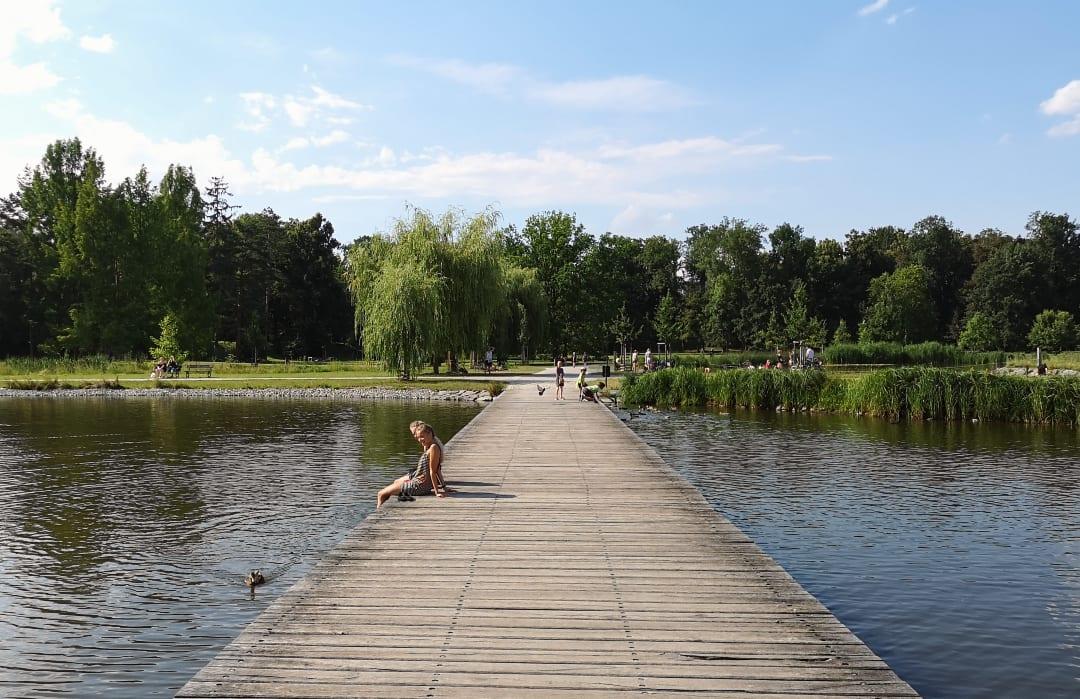 Steg über einem Teich